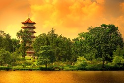 Pagoda of the Chinese gardens in Singapore