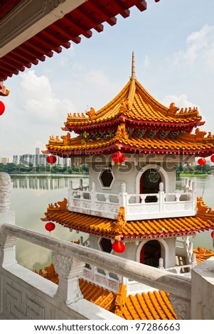 Pagoda on lake in the Chinese garden, Singapore