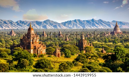 Pagodas and temples of Bagan, in Myanmar, formerly Burma, a world heritage site.  Сток-фото ©