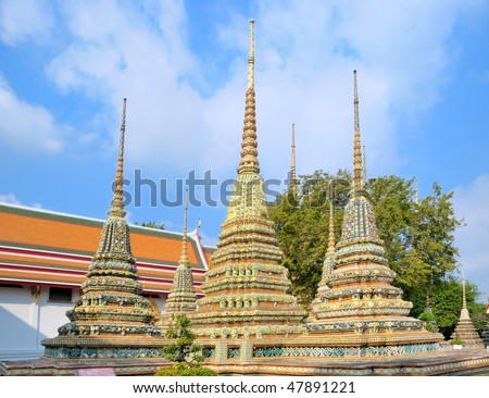 Pagodas in buddhist temple in Bangkok, Thailand.