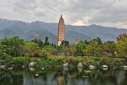 Pagodas in China (Famous Three Pagodas in Dali, Yunnan province)