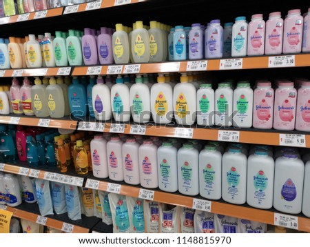 PAHANG, MALAYSIA - 24 JULY 2018 : View of Johnson's baby shampoo, lotion and bath bottle on the supermarket shelf.   #1148815970
