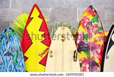 PAIA HI 30 MARCH 2015 Colorful surfboards are lined up in the streets of Maui Hawaii is the birthplace of modern surfing and home to the world's major big wave surfing competitions