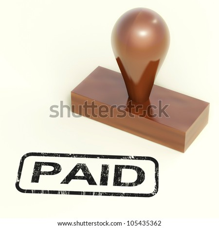 Paid Rubber Stamp Shows Invoice Payment Confirmation
