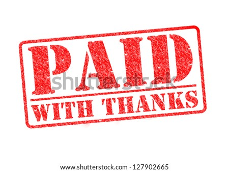 PAID WITH THANKS red rubber stamp over a white background.