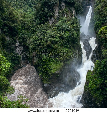Pailon del Diablo - Mountain river and waterfall in the Andes, Ecuador