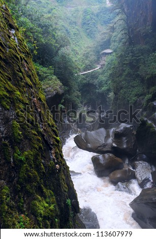 Pailon del Diablo - Mountain river and waterfall in the Andes, Ecuador