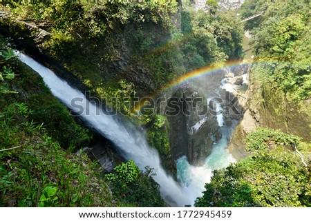 Pailon del Diablo waterfall in Tungurahua, Baños, Ecuador. Foto stock ©