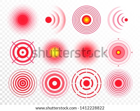 Pain circles. Red painful target spot, targeting medication remedy circle and joint pain spots. Muscle pain, painful headaches or health healing sound wave isolated  icons set