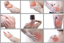 Pain in a man's body. Isolated on white background. Collage of several photos. Close up of man rubbing his painful back