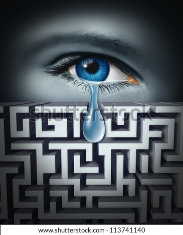 Pain management and dealing with human physical or psychological suffering with an eye crying a tear through a maze or labyrinth as a concept for finding solutions to emotional work or life stress.