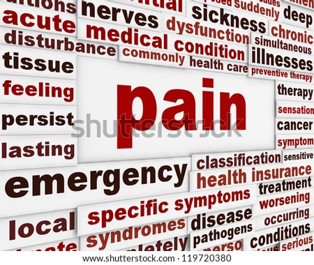Pain medical poster design. Intense unpleasant feeling message background