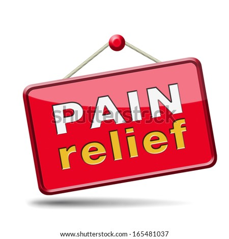 pain relief or management by painkiller or other treatment chronic back injury sign with text