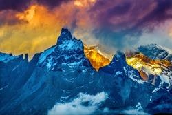 Paine Horns Three Granite Peaks Torres del Paine National Park Patagonia Chile