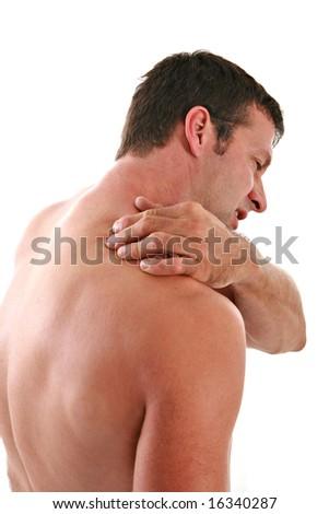 Painful Man Holding Neck on Isolated Background
