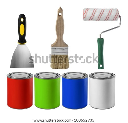 paint brush and paint roll and paint can totally isolated on white background