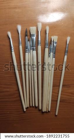 Paint brush set close up Stok fotoğraf ©