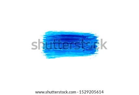 Paint Brush Stroke Texture Blue Watercolor Spot Blotch Isolated.
