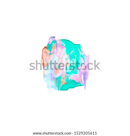 Paint Brush Stroke Texture multicolor Watercolor Spot Blotch Isolated.