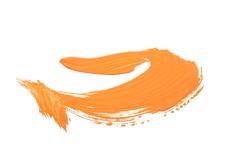 Paint brush strokes, orange color isolated on white background.