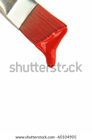 Paint brush with red colour isolated