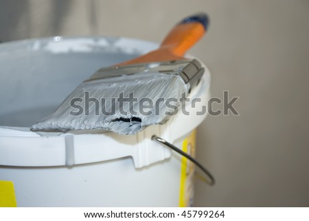 Paint bucket and paintbrush