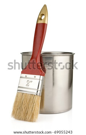 paint buckets and paintbrush isolated on white background