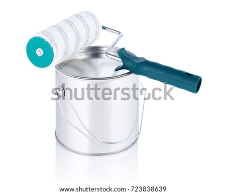 Paint can and paint roller #723838639
