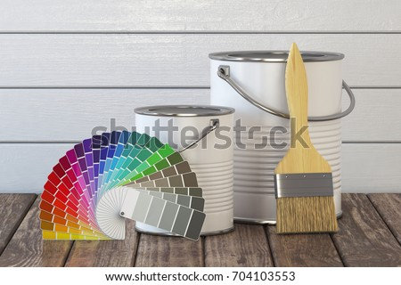 Paint cans, paint brush and color palette on wood table. 3d illustration