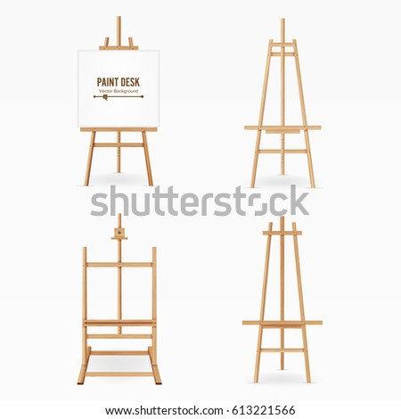 Paint Desk. Wooden Easel Template With White Paper. Isolated On White Background. Realistic Painter Desk Set. Blank Space For Design.