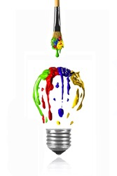 Paint dripping from the paintbrush in form of light bulb