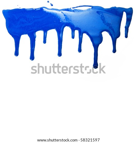 Paint dripping isolated on white background
