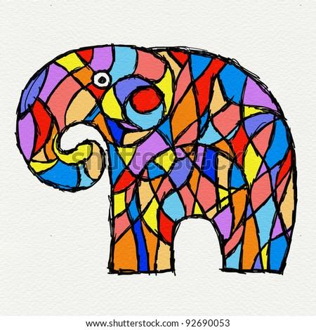 Paint elephant illustration on paper