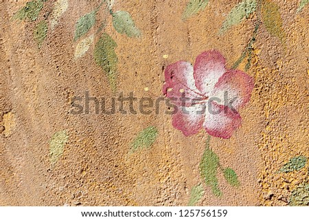 Paint flower concrete on wall