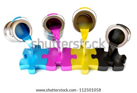 Paint from the bucket fills in the puzzle view of CMYK colors. White background. 3d render