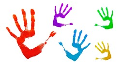 Paint hands imprint isolated on white background. Red human palm and fingers imprinted on white surface. Abstract art design, symbol of people's identity. Silhouette, handprint.