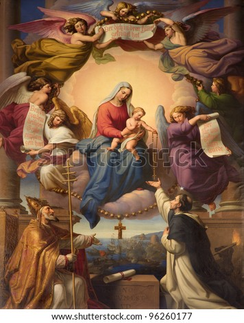 Paint of Madonna, pope and hl. Dominic in heaven from main altar in Dominicans church (Dominikanerkirche) in Viennaby  Leopold Kupelwieser from years 1839 -1840
