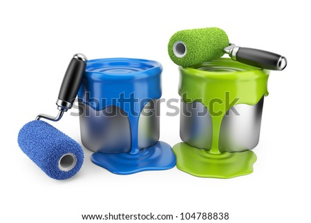 Paint roller and can. Painter concept. 3D Icon isolated on white background
