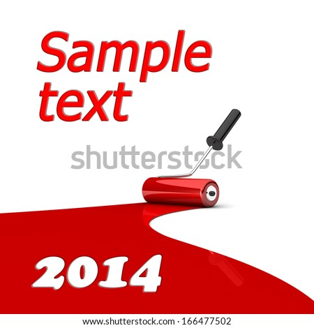 Paint roller and red paint stripe. 3d illustration. Art concept. Space for your text or image