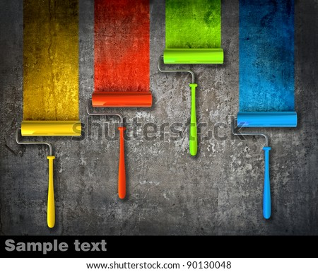 Paint roller draw a palette. Isolated