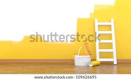 Paint, roller for a paint and a ladder near a wall of yellow colour. 3d illustration