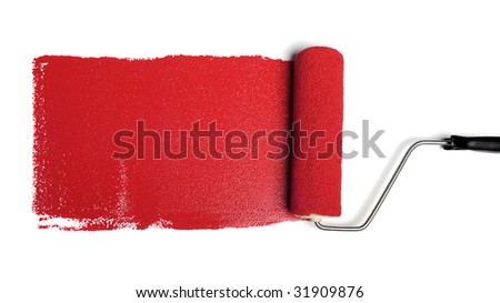 Paint roller leaving stroke of red paint over a white background