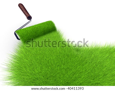 Paint roller painting with grass - 3d render