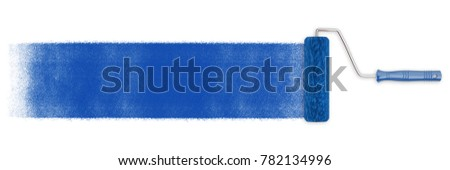 Paint roller with blue paint on a wall (3D Rendering)