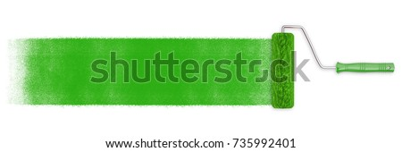 Paint roller with green paint as background banner for advertising (3D Rendering)