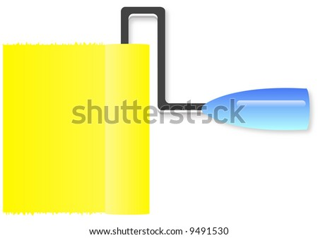 paint roller with yellow paint