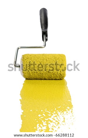 Paint roller with yellow paint isolated over white background