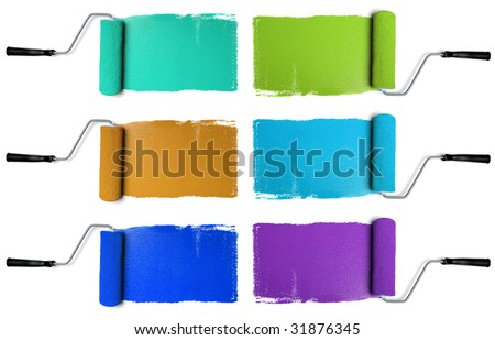 Paint Rollers with various colors isolated over white background