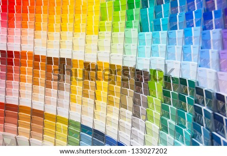 Paint samples in the shop - stock photo