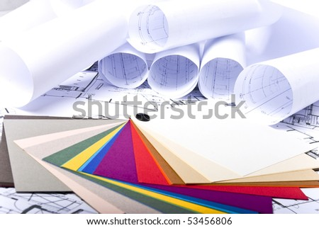 paint samples on plans background